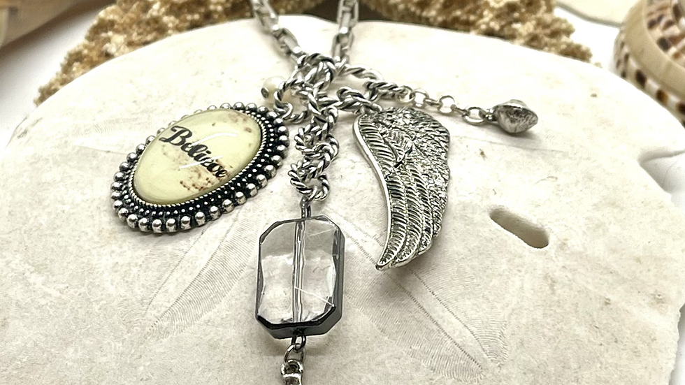 Believe with charms necklace