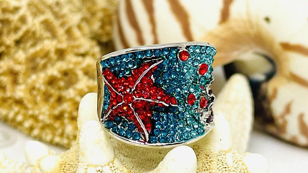 Rhinestone starfish ring size