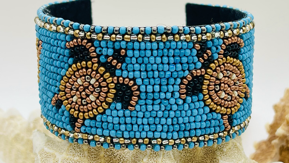 Beaded blue turtle cuff