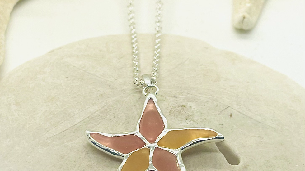 Starfish necklace made with recycled sea glass