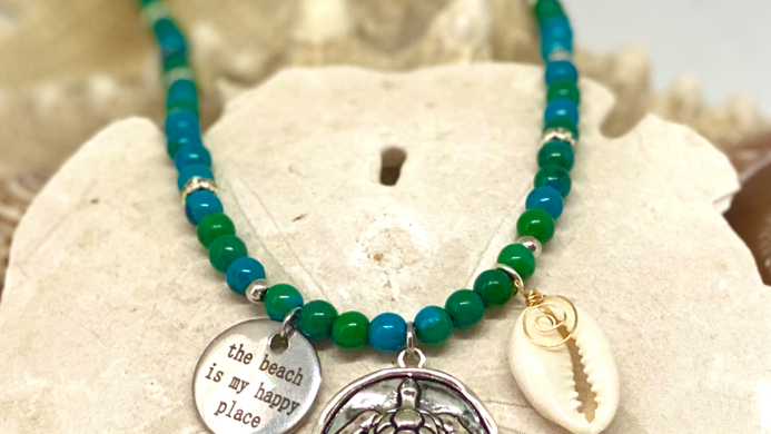 Turtle necklace with beach saying(The beach is my happy place