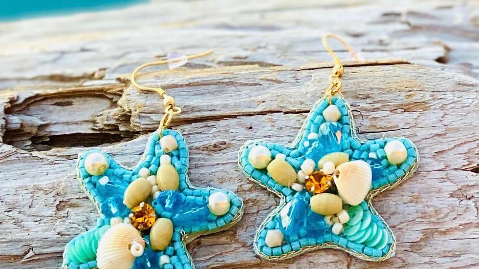 Starfish beaded earrings with shells