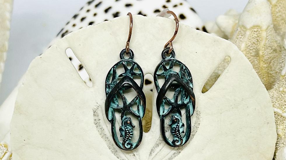 Patina flip flop earrings /nickle free
