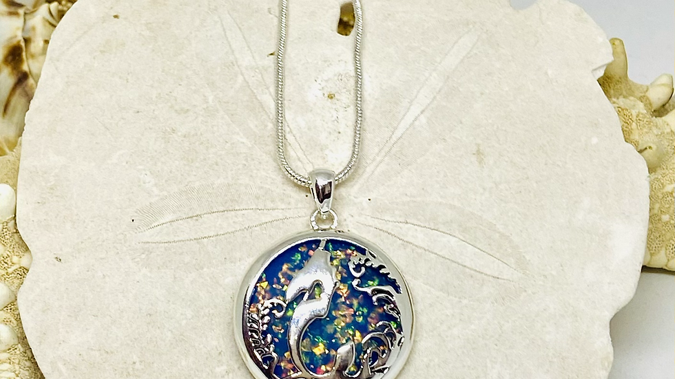 Mermaid necklace with a Splash of color 18inch chain