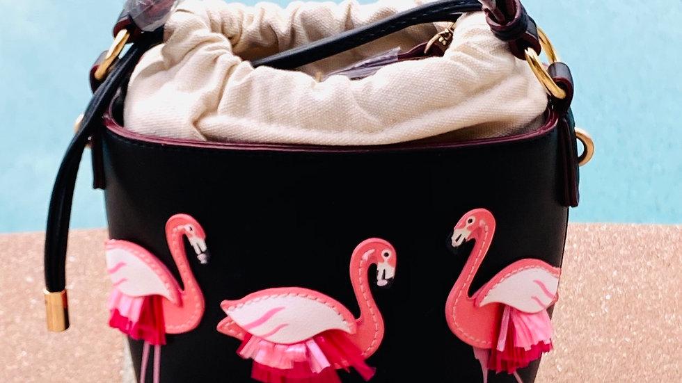 Flamingo leather purse
