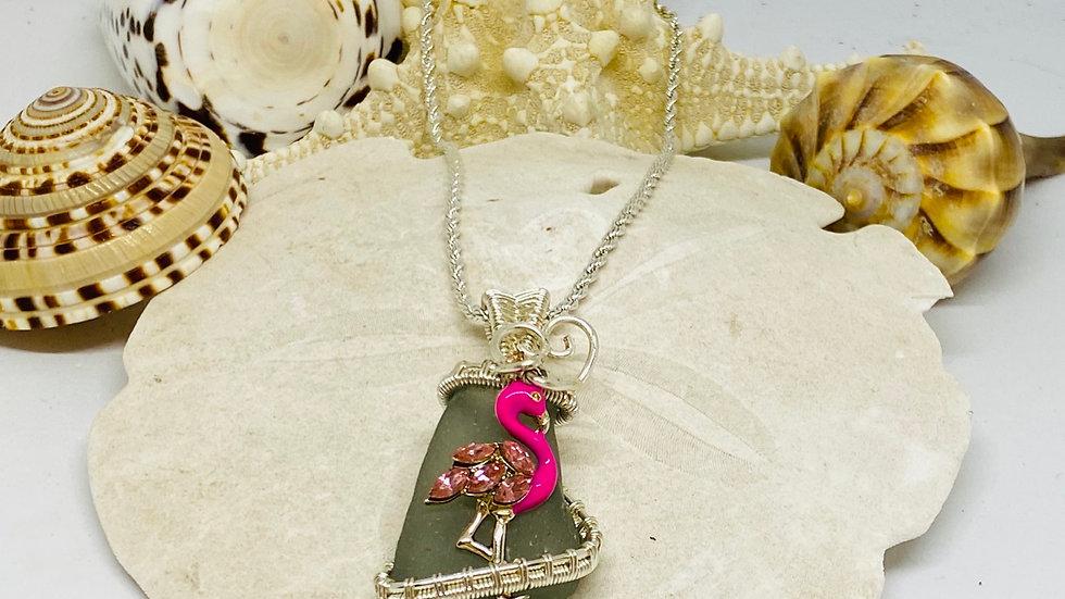 Flamingo Seaglass necklace