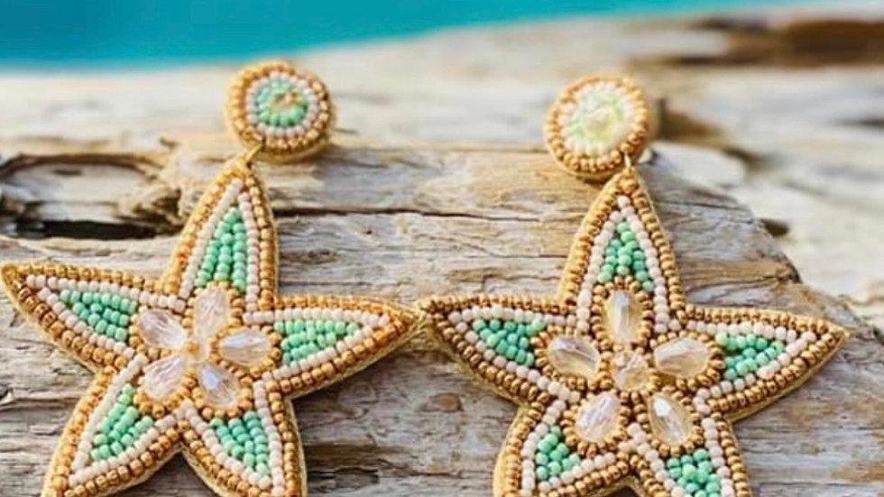 Beaded Star Fish Earrings