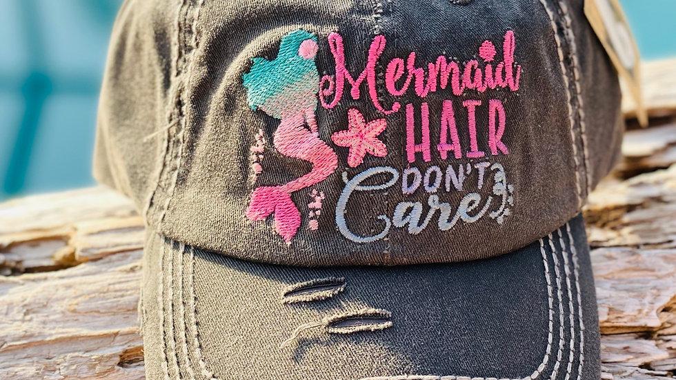 Black vintage cap/Mermaid Hair don't care