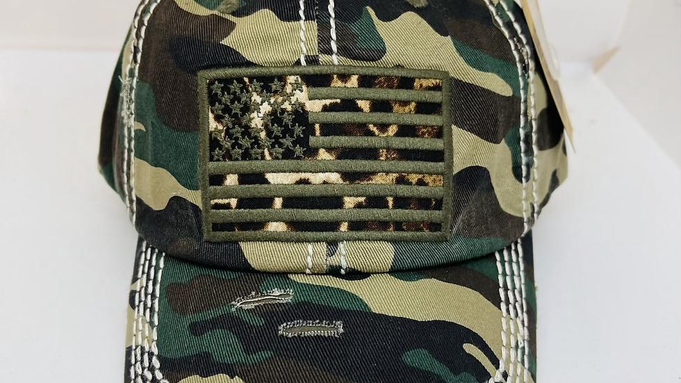 Camouflage American Flag vintage cap