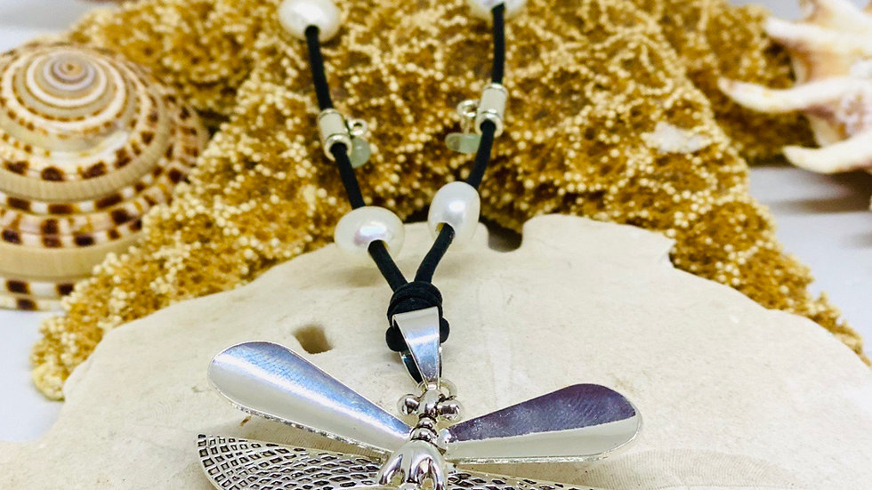 Dragonfly leather and pearl necklace