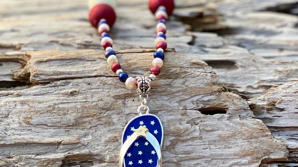 Patriotic flip-flop necklace