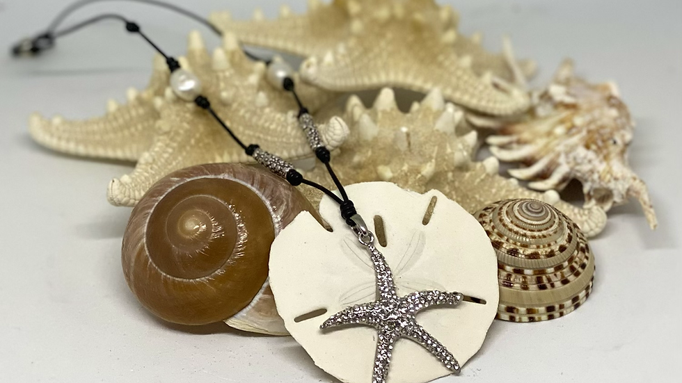 Blink starfish leather and pearl necklace