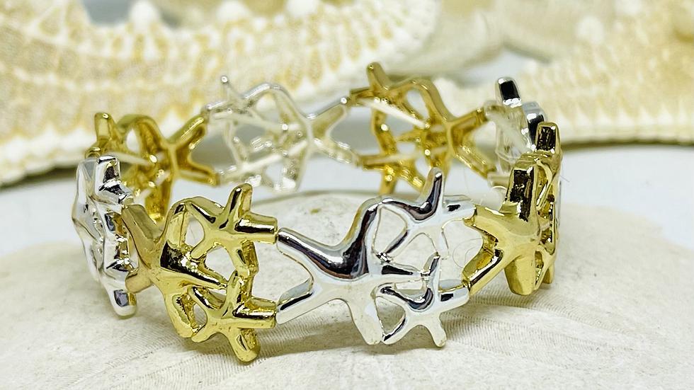 Two tone Stretchable starfish bracelet
