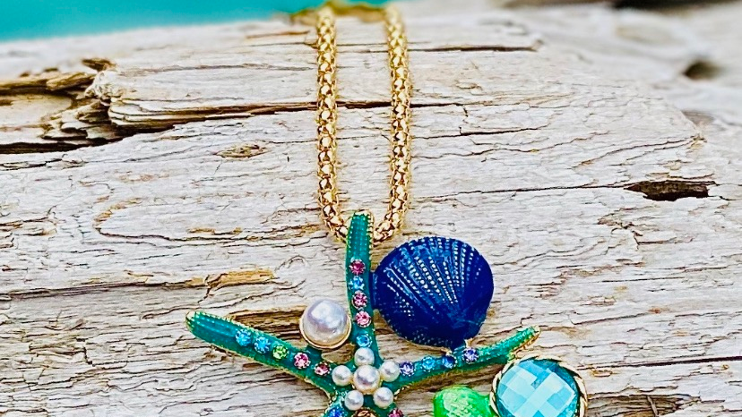 bling sea creature necklace