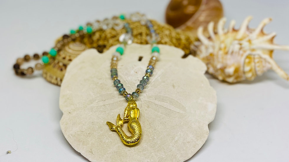 Gold mermaid with beautiful beads