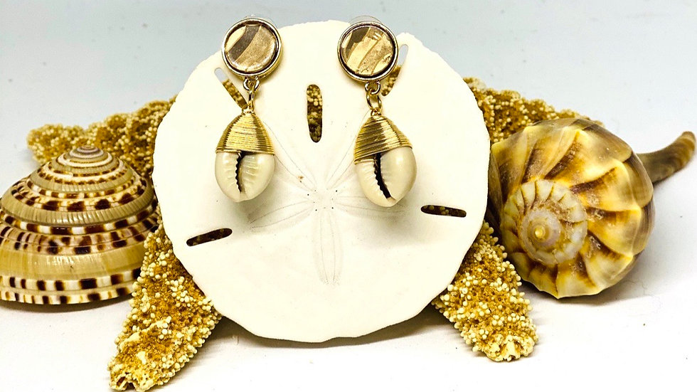 Cowrie gold wire wrapped earrings