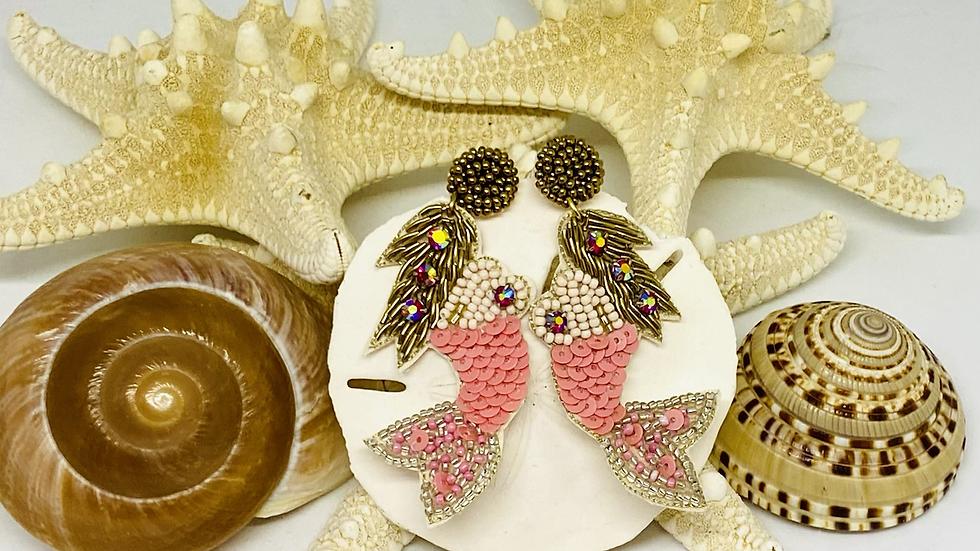 Sequence mermaid earrings