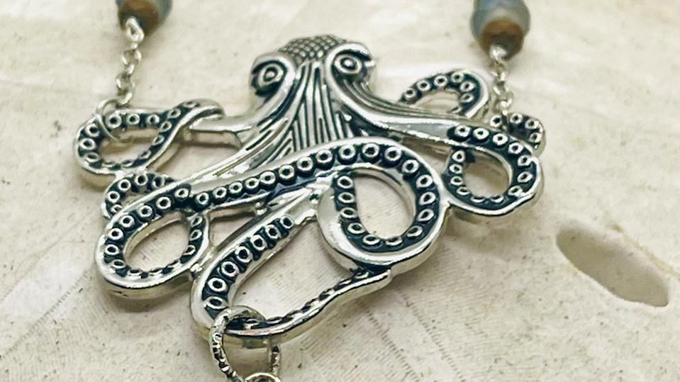 Octopus sea glass necklace , hand crafted