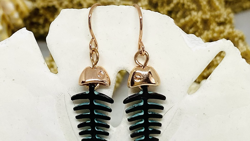 Copper and pentina fish earrings/nickle free