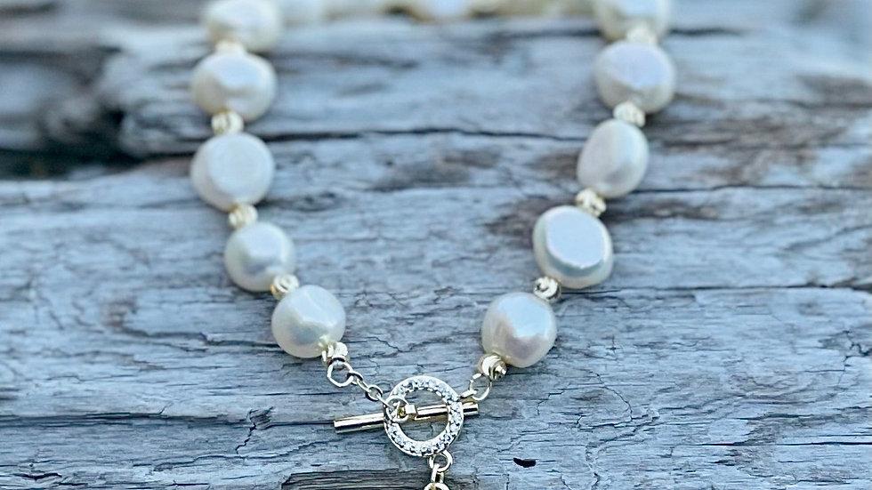 Freshwater pearl bee bracelet