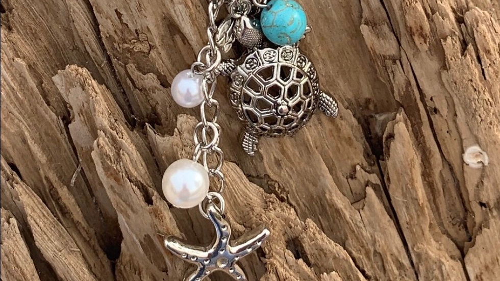 Sea life charm leather & pearl necklace