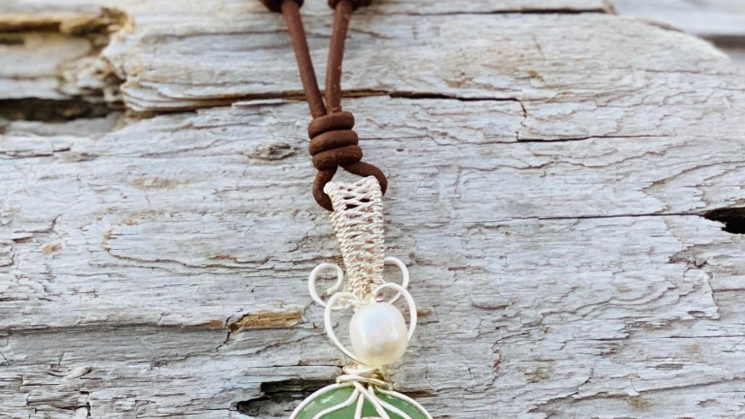 Whale tail seaglass necklace on leather and pearl