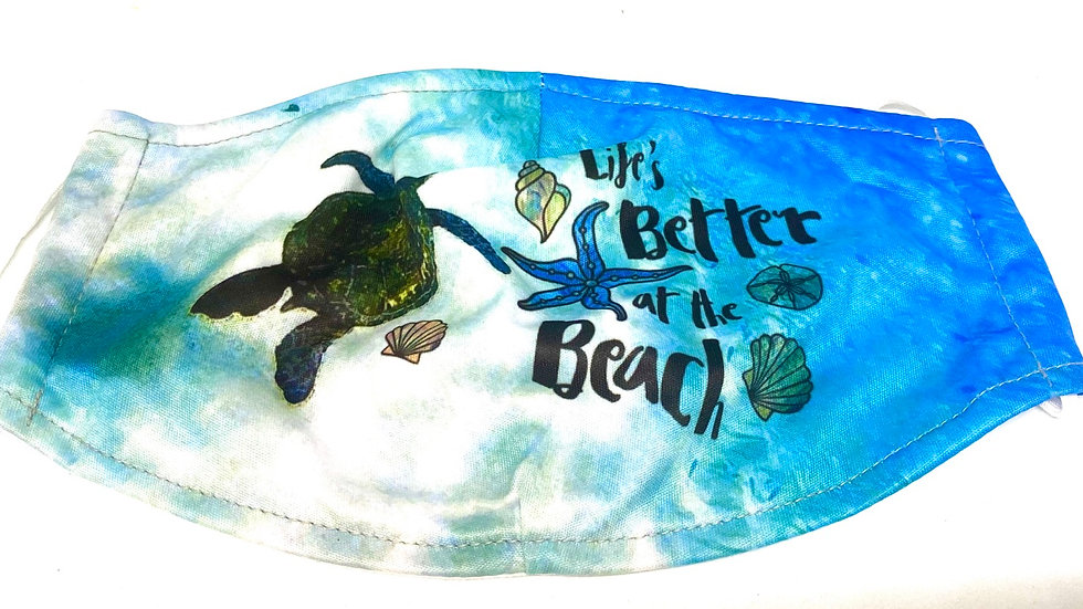 Turtle mask life better at the Beach , 100%soft cotton