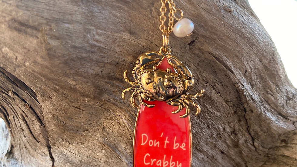 crab necklace with saying