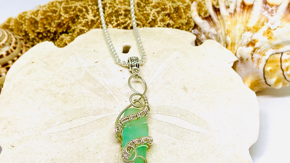 Sea glass necklace from Spain, comes with any length chainSterling silver
