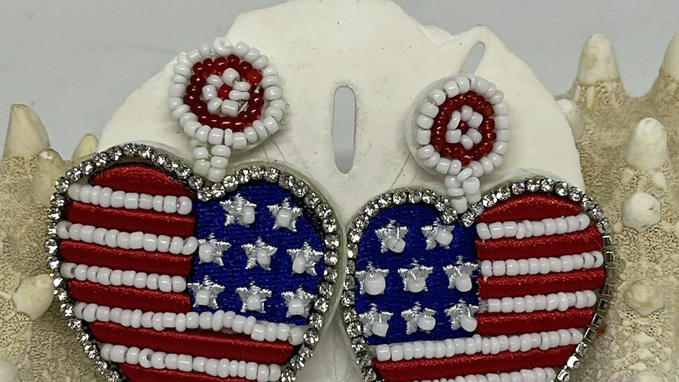 American flag heart earrings /nickel free