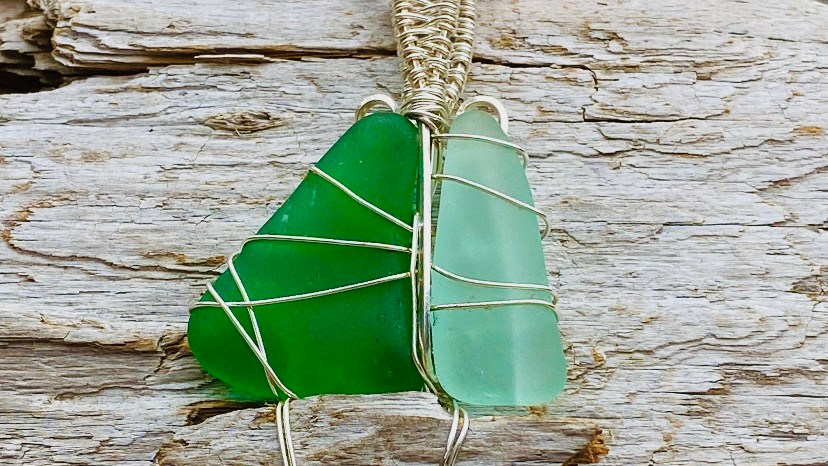 Seaglass sailboat necklace