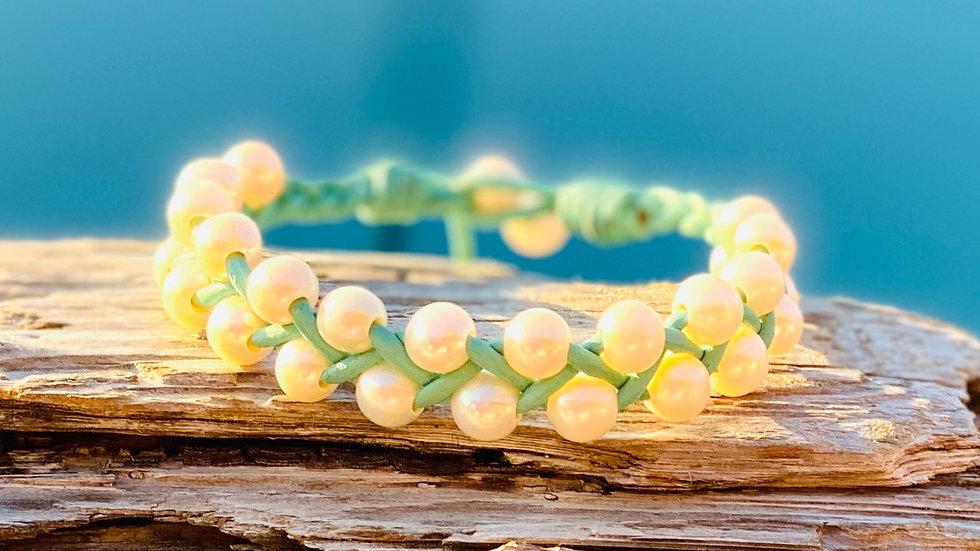 Double stranded freshwater pearl bracelet