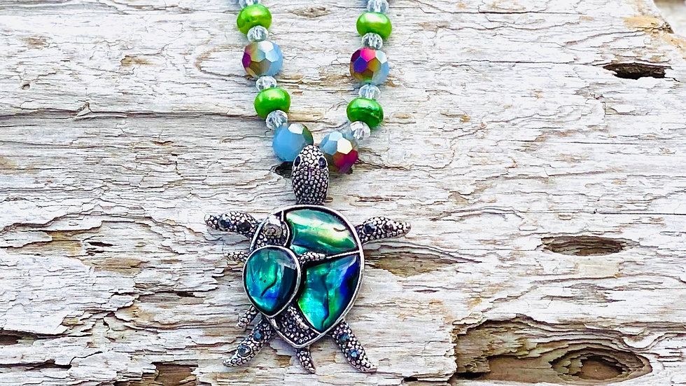 Mother of pearl Turtle with baby necklace