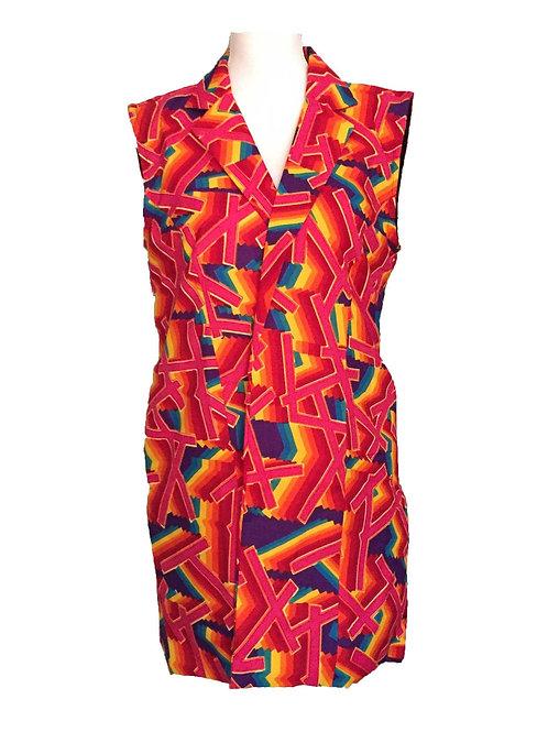 Pink multi pattern vest