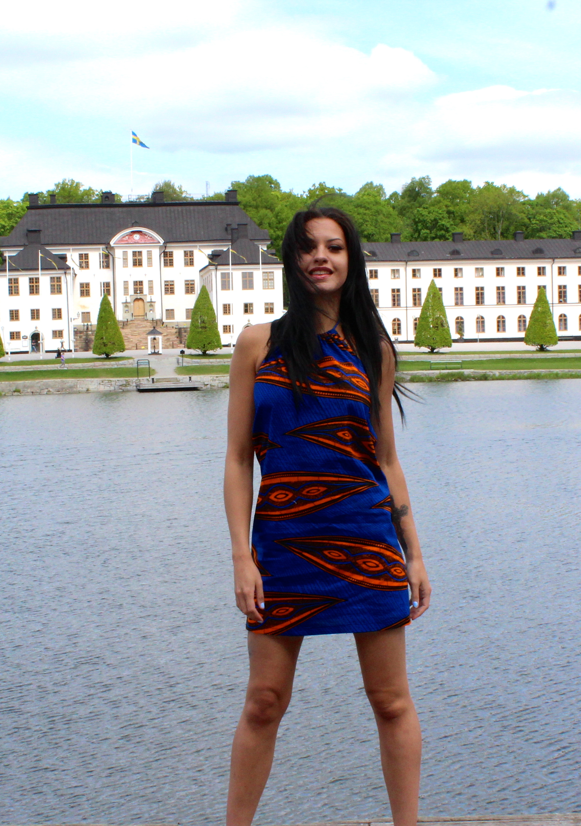 Wax print top dress
