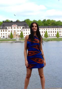 Wax print top dress