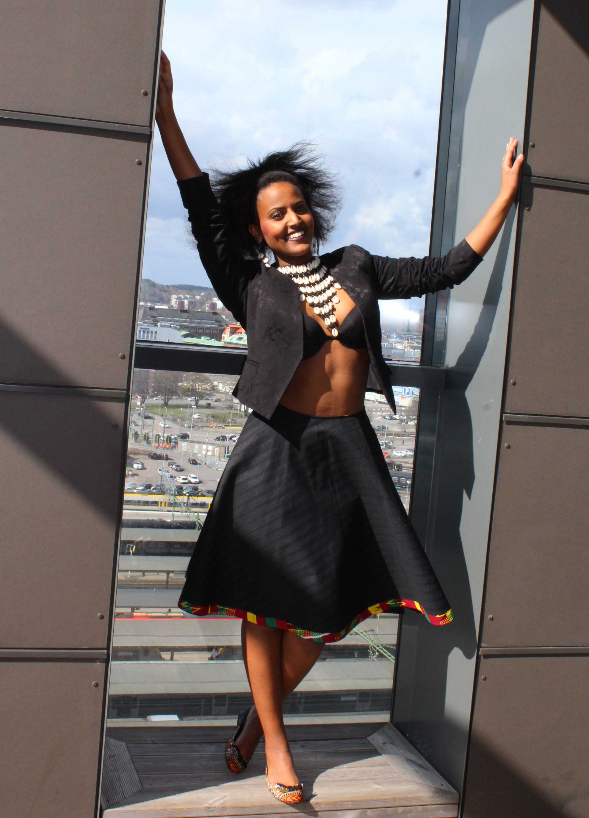 Black skirt with kente