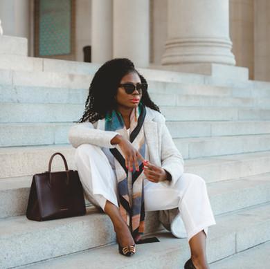 A Dressy Way to Wear a Grey Wool Coat