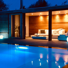 poolhouse by night