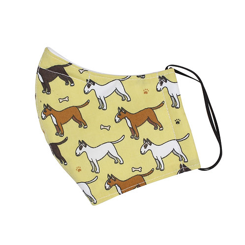 4 Layer Fabric Face Mask With Nose Wire - Yellow Dog Pattern
