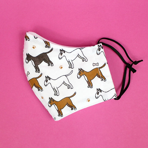 4 Layer Fabric Face Mask With Nose Wire - White Dog Pattern