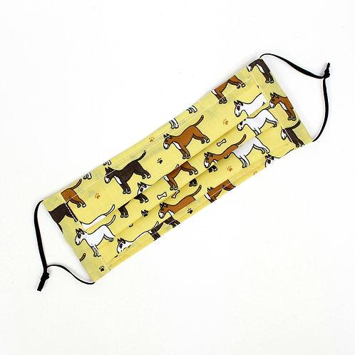 Pleated Fabric Face Mask - Yellow Dog Pattern