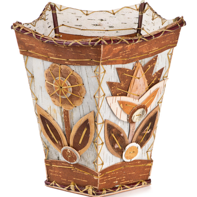 Ojibwe birchbark applique basket