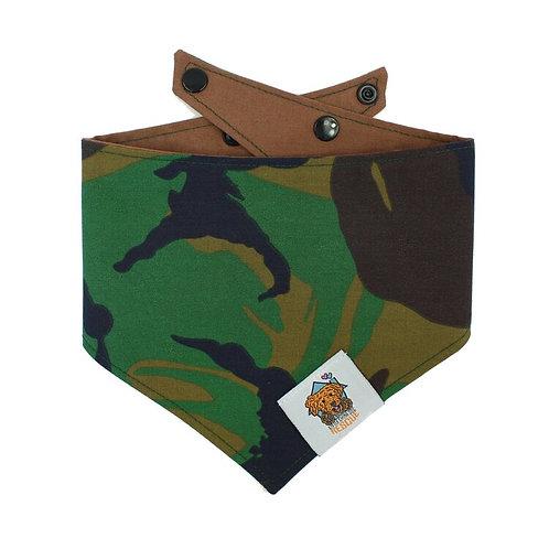 Green Camo Dog Bandanna (Brown Back)