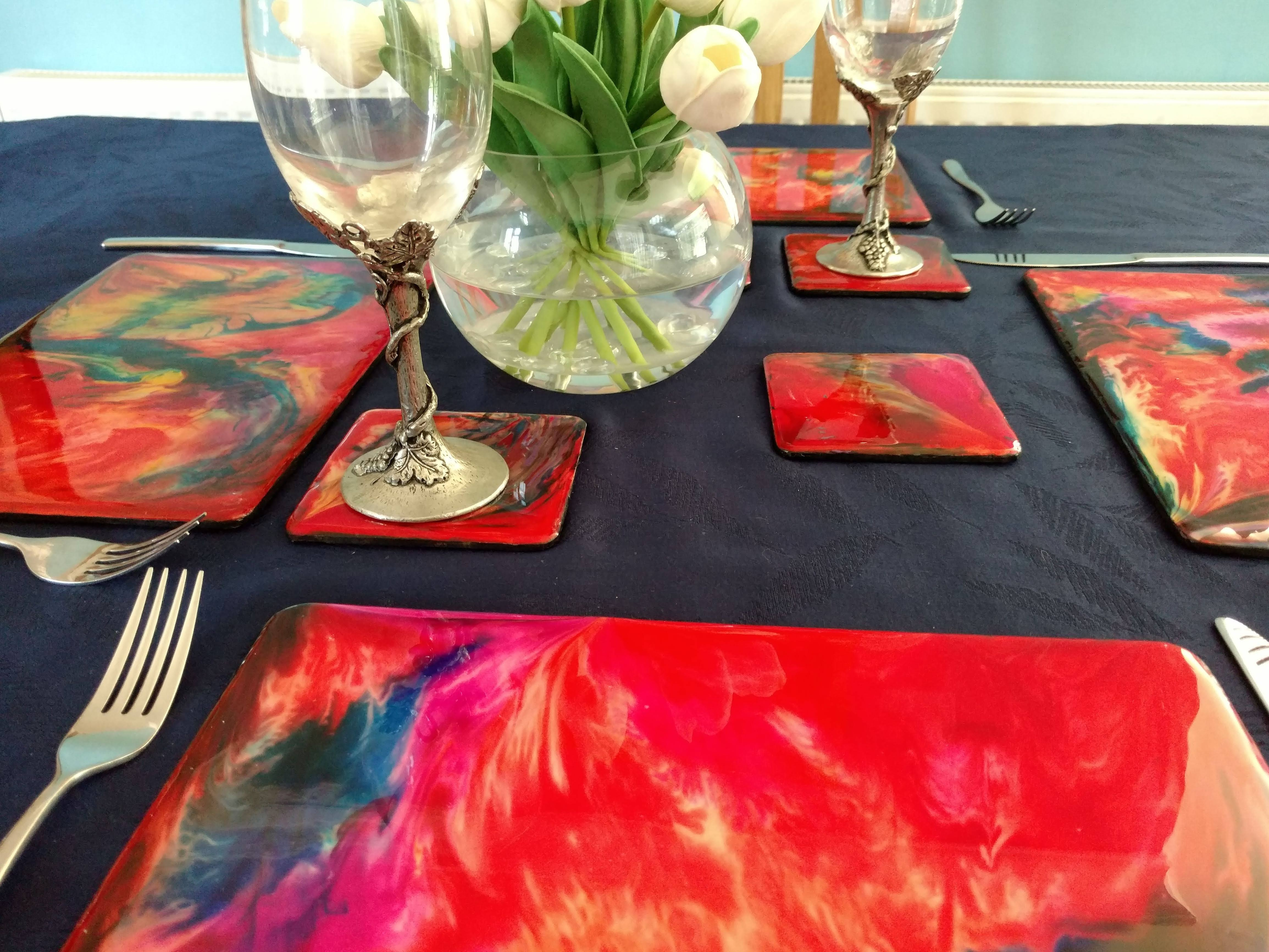 redplacemats and coaster set