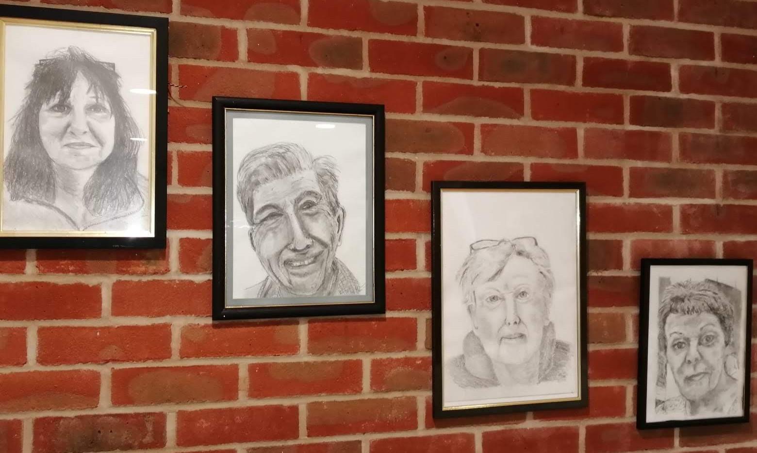 Pencil on self portraits
