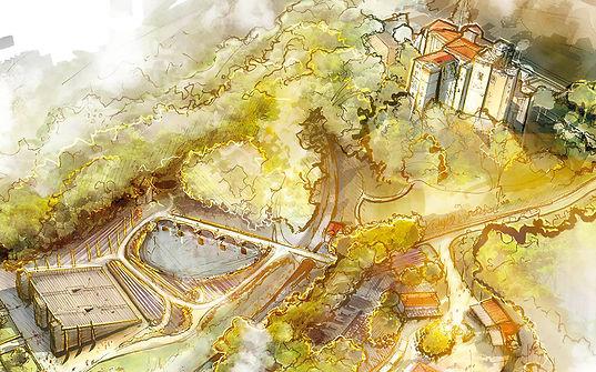 Croquis de la scène principale et du château, droits réservés Aymeric Masson