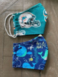 miami dolphins whales cloth face masks