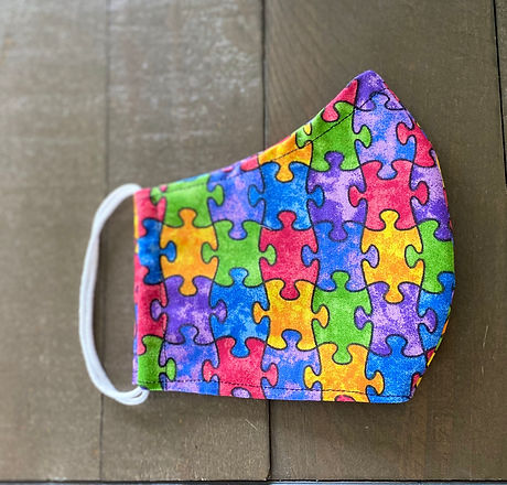 autism awareness puzzle piece cloth face mask