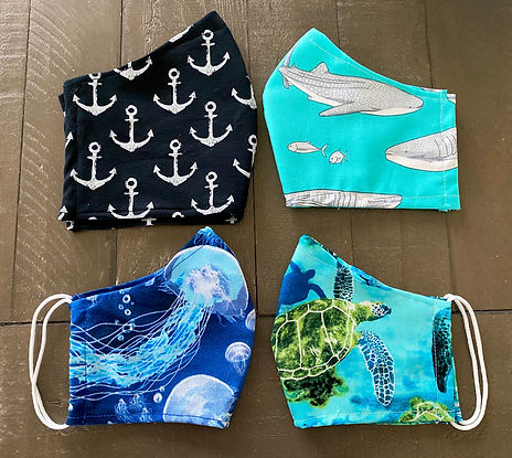 cloth face mask jellyfish anchors whale sharks turtles